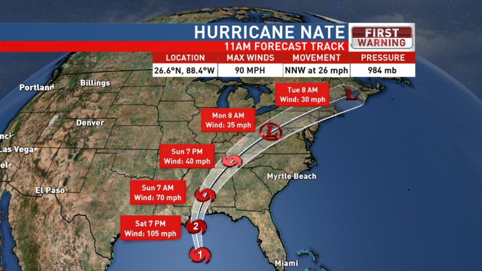 11am 10-7-17: Nate is a Category 1 hurricane, on track to make landfall by Sunday morning