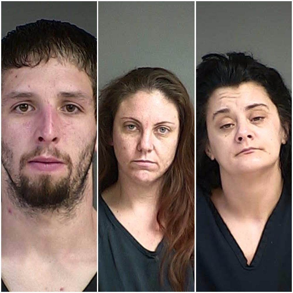 Arrested: William McGarvey, Amy Meyer & Sara Raatz (Douglas County Sheriff's Office booking photos)
