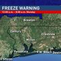 Freeze Warning in Effect Sunday Night through Monday Morning