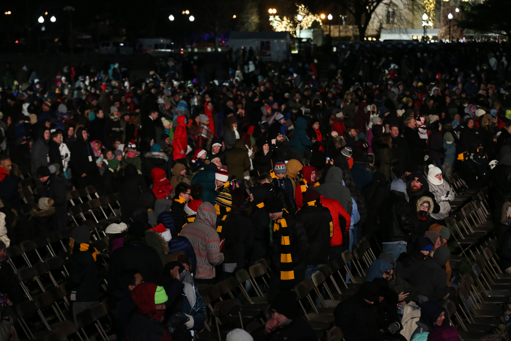 After the tree was lit, roughly 1/3 of the crowd left - there were dozens of empty chairs before the festivities started. (Amanda Andrade-Rhoades/DC Refined){ }