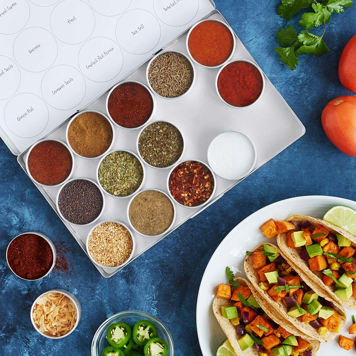 Because Taco Tuesday is a real thing - duh.  Opt for this Global Taco Seasoning Kit. 15 tins contain all the seasonings he'll need, plus recipes, for five knockout tacos from around the world. $38.00 (Image: Uncommongoods)