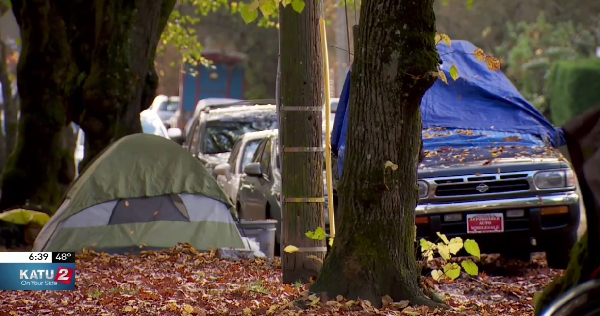 Homeless in Portland (KATU News photo)