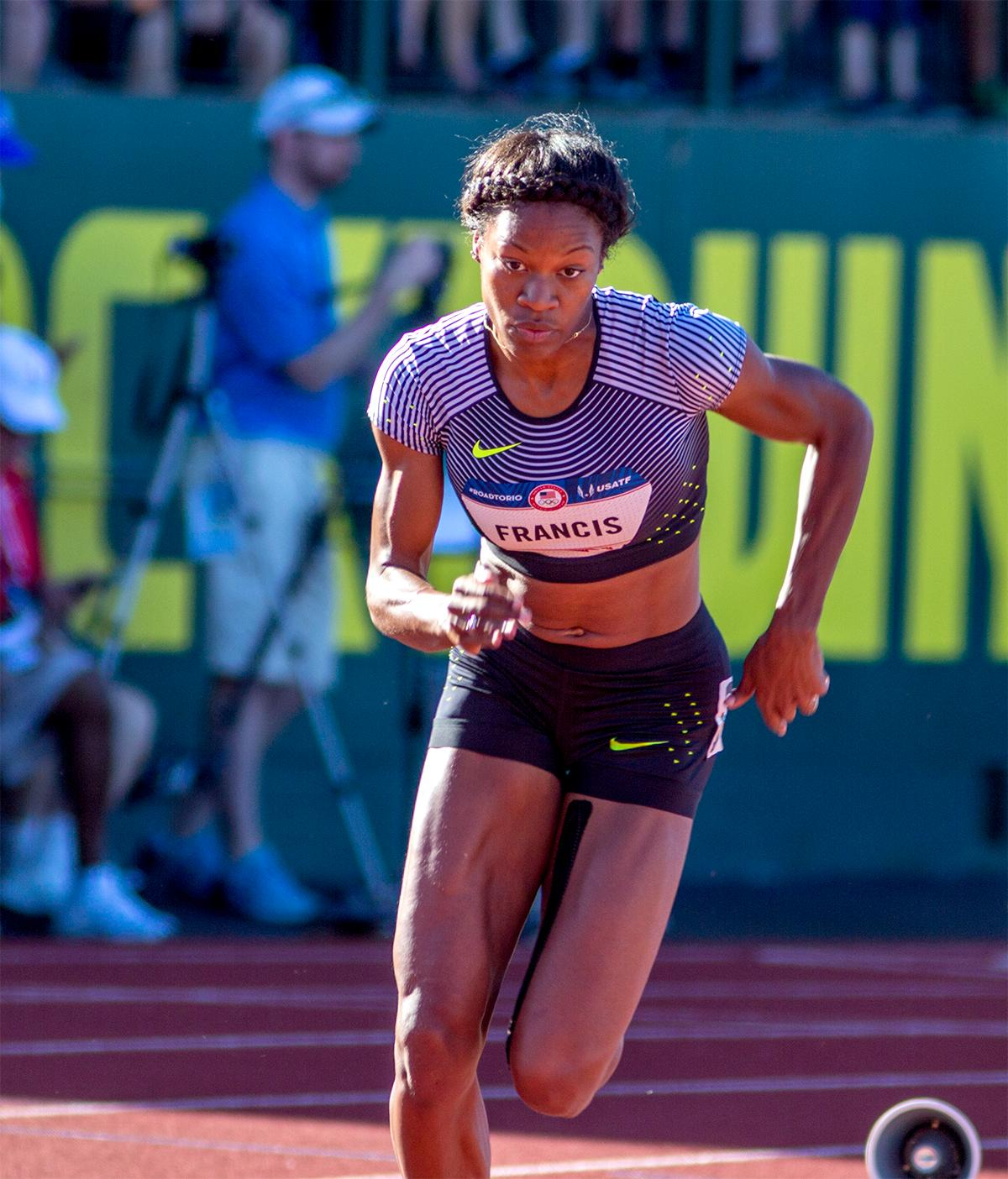 Nike's Phyllis Francis sprints off the starting blocks in the women's 400m. Francis won her heat and placed second overall with a time of 50.81. Day one of the U.S. Olympic Trials Track and Field began on Friday at Hayward Field in Eugene, Oregon and will continue through July 10. Photo by August Frank, Oregon News Lab