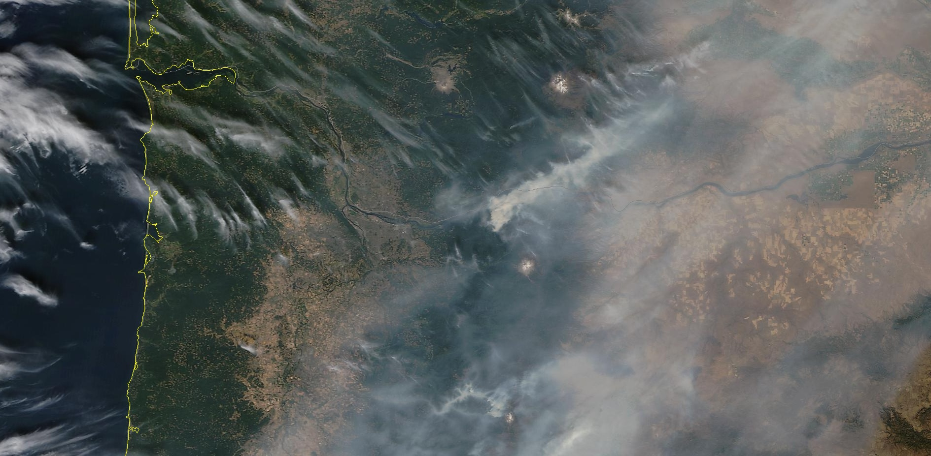 Eagle Creek Fire -  Satellite photo from NASA