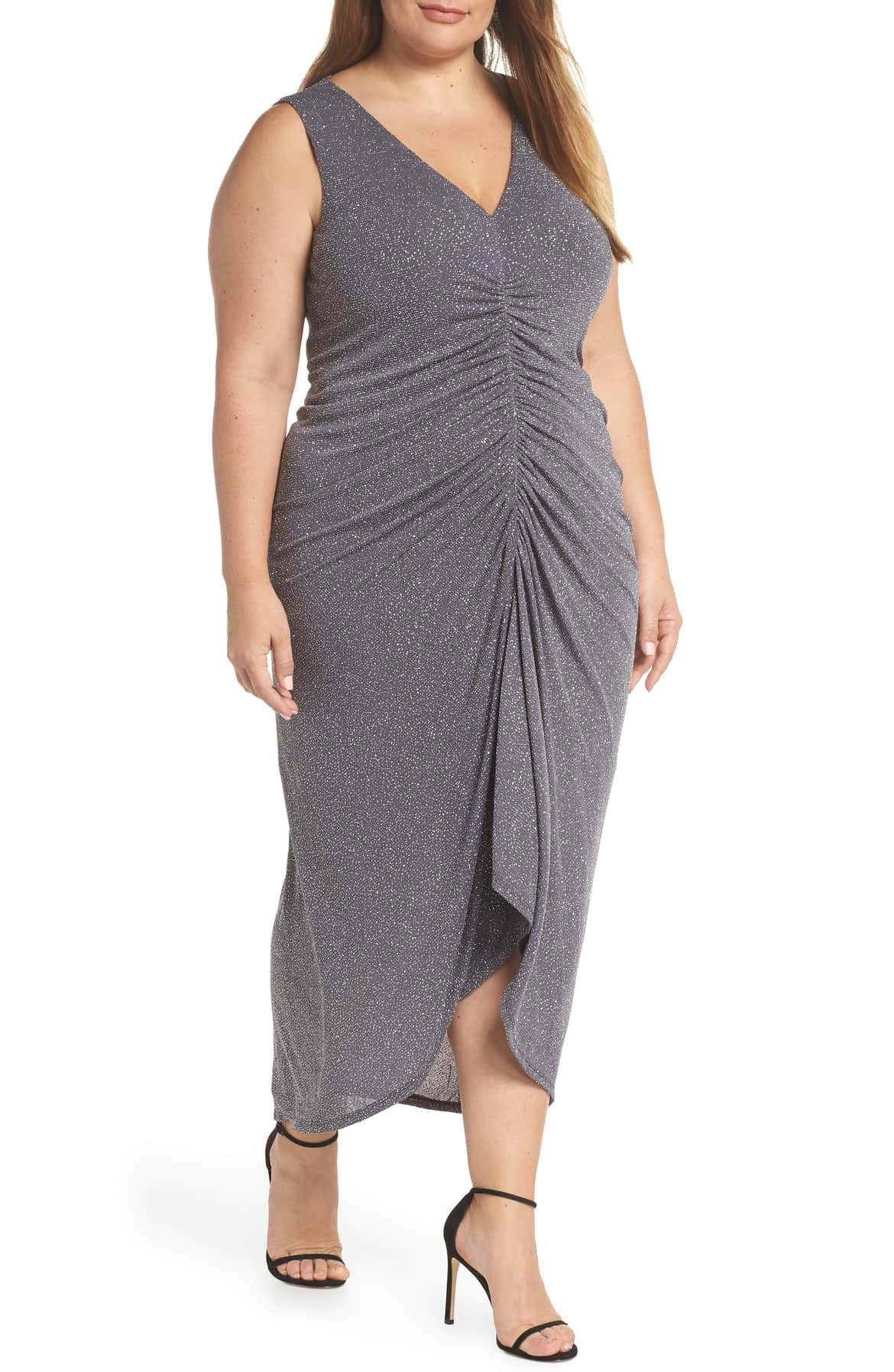 <p>Sprinkled in shimmering metallic sparkle, this figure-flattering evening dress will turn every head in the room. $198. (Image: Nordstrom){&amp;nbsp;}</p><p></p>