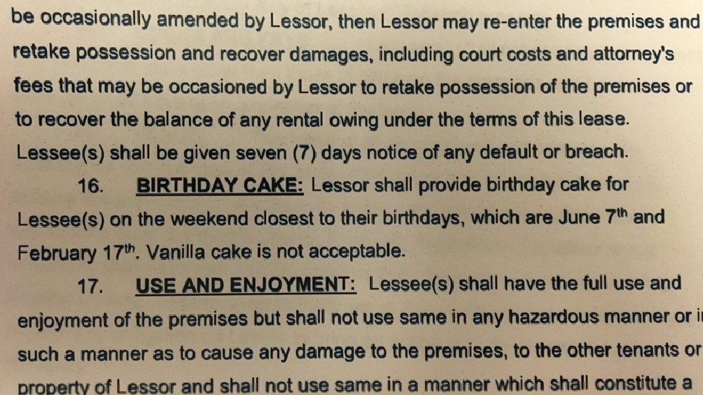 Tenant Sneaks In Clause In Lease About Birthday Cake Katv