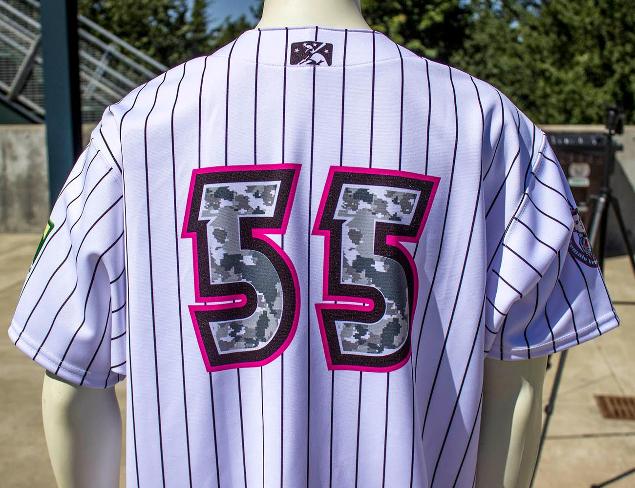 The Eugene Emeralds wore this recent design by Danny Cowley to honor female veterans at the 2016 Springfield Night. The Eugene Emeralds will hold a Throwback Thursday and Teacher Appreciation Night August 18. Teachers can get free box seats. (Photo by Amanda Butt)