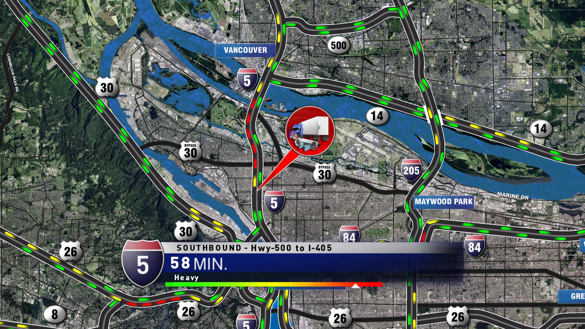 Two lanes of I-5 southbound closed Tuesday morning because of a leaking food grease truck, police said. KATU graphic