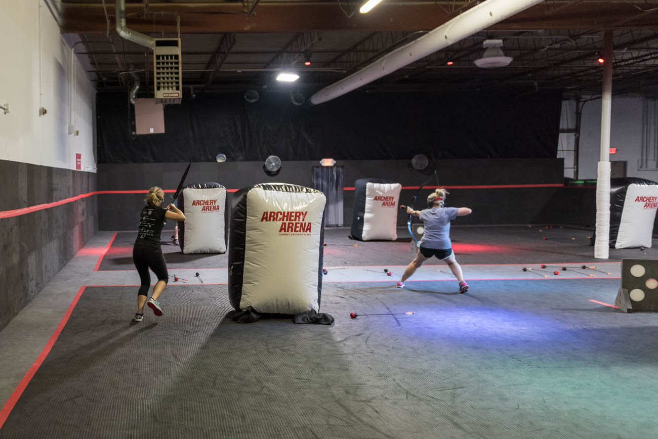 Archery Arena is the first and only combat archery arena in Cincinnati. It combines the rules of dodgeball with archery using compound bows and heavily padded arrows to make for a totally unique 60 minutes of play not offered anywhere else around town. Archery Arena is considered a family friendly environment and no previous archery experience is required. ADDRESS: 4950 Provident Drive (45246) / Image: Mike Menke // Published: 9.2.18