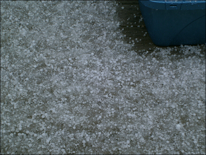 Bruce Bury: Hail Storm S. Snohomish 2 miles east of Echo Lake