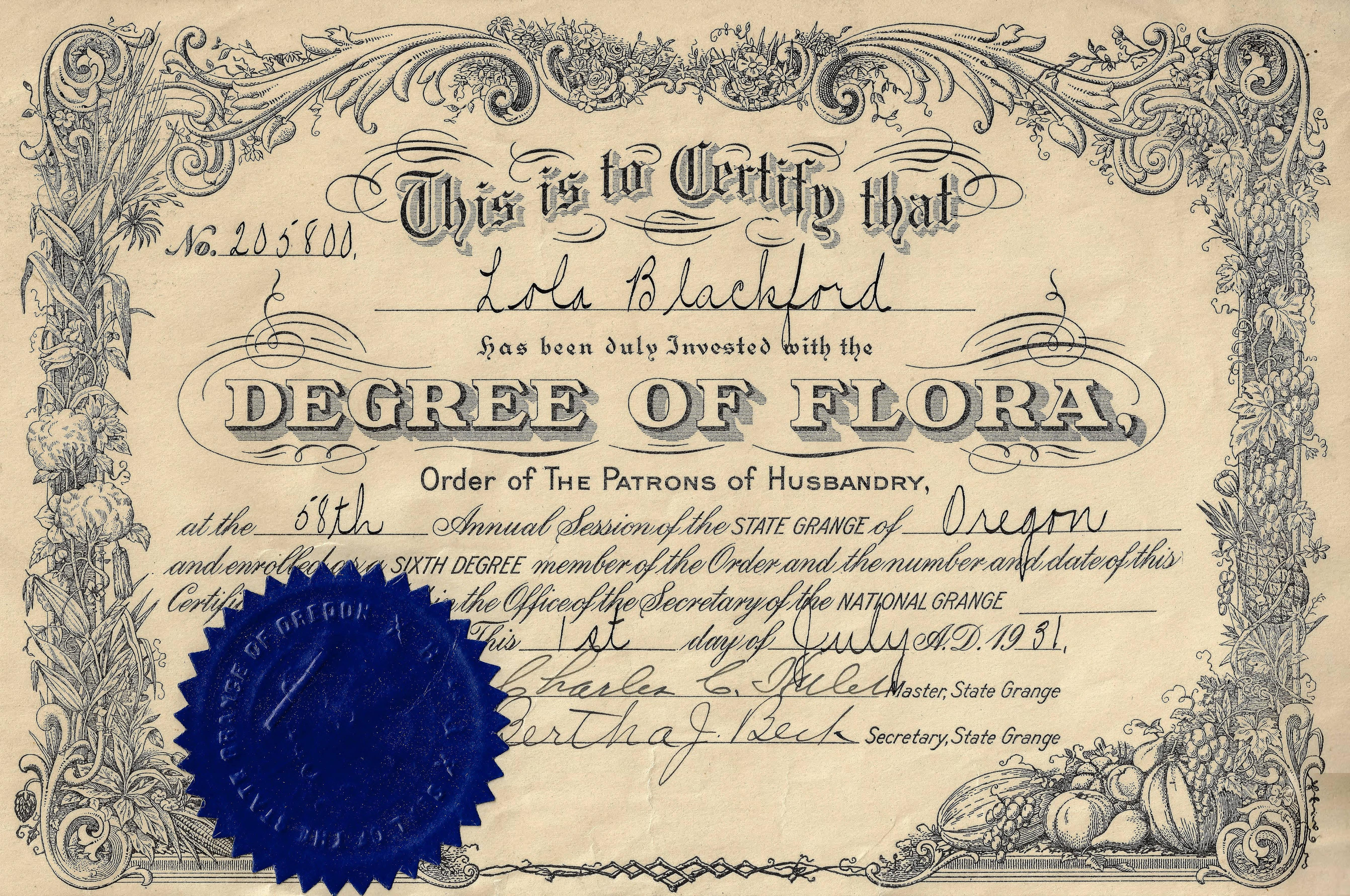 Southern Oregon Digital Archives / Blackford Family Collection<br>Lola Blackford's certificate for the Sixth Degree of Flora in the Order of the Patrons of Husbandry, awarded at the 58th annual session of the state grange of Oregon in 1931.