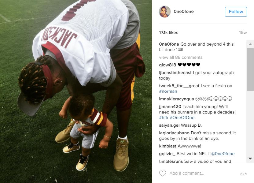 Yeah, you know their number, their stats, and their touchdown dance....but did you know that a lot of our wonderful Redskins are fathers? As we are heading into the first weekend without our Burgundy and Gold on the field since September (RIP playoff bid) and are already missing our guys, we decided to take a look at the adorable little Skins who graciously give their dads to us each Sunday. *Note: We only included images that players have posted on their public profiles, this doesn't take into account any Redskins fathers who don't have social media accounts, or choose not to post about their kids. We totally get it and respect that either way! (Image: IG user @0ne0fone)