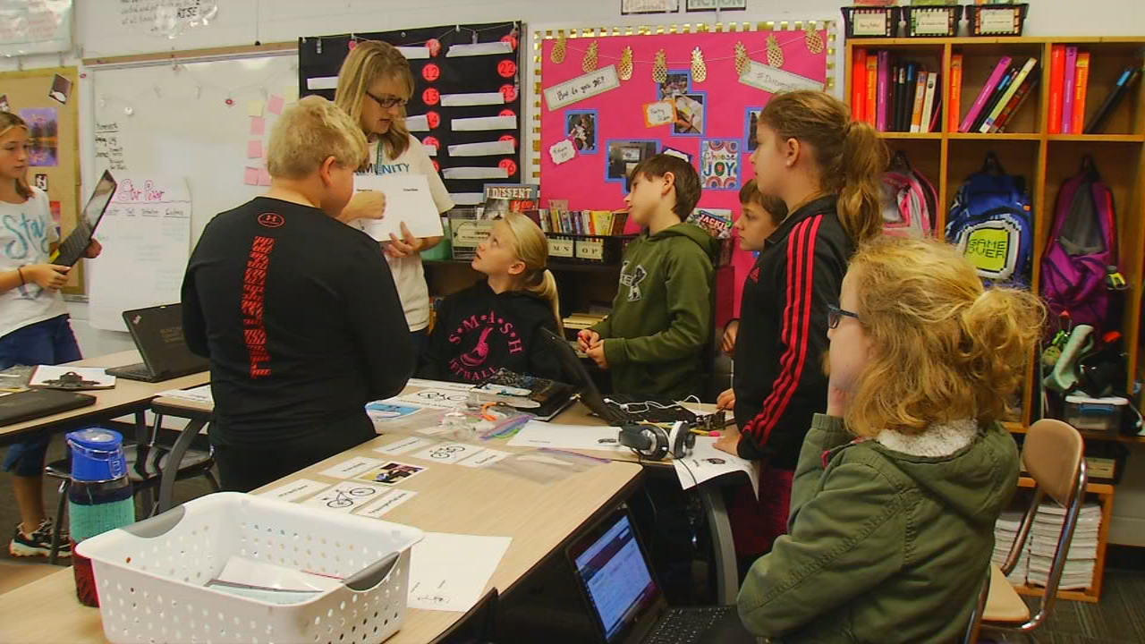 Two Buncombe County educators are using Discovery Education resources to make their classrooms more challenging and exciting. (Photo credit: WLOS staff)