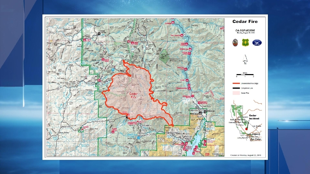 Cedar Fire Acres Percent Contained KBAK - Cedar fire map