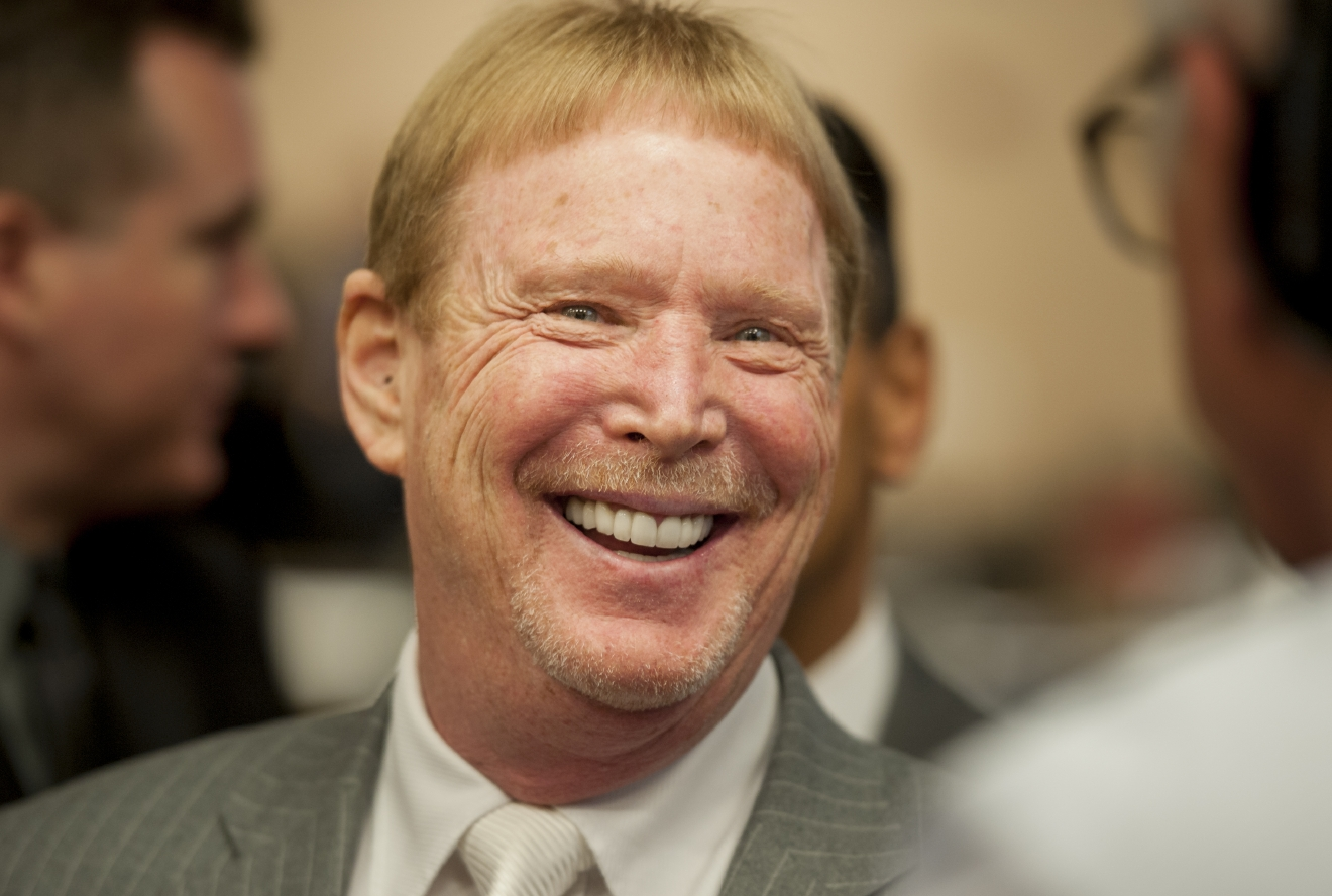 Mark Davis, owner of the Oakland Raiders, chats with guests following a meeting of the Southern Nevada Tourism Infrastructure Committee at the Stan Fulton Building, UNLV on Thursday, April 28, 2016. Davis discussed bringing the Oakland Raiders to Las Vegas, which includes the initiative to build the Raiders a domed stadium. (Mark Damon/Las Vegas News Bureau)