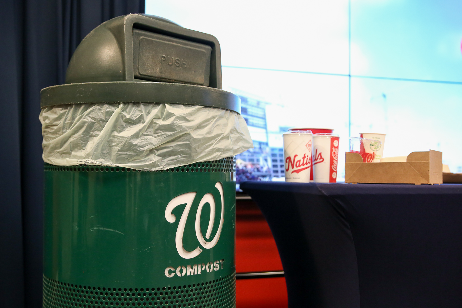 Nats Park will now be offering compost bins and eliminating single-use straws and promoting more eco-friendly food containers. (Amanda Andrade-Rhoades/DC Refined)