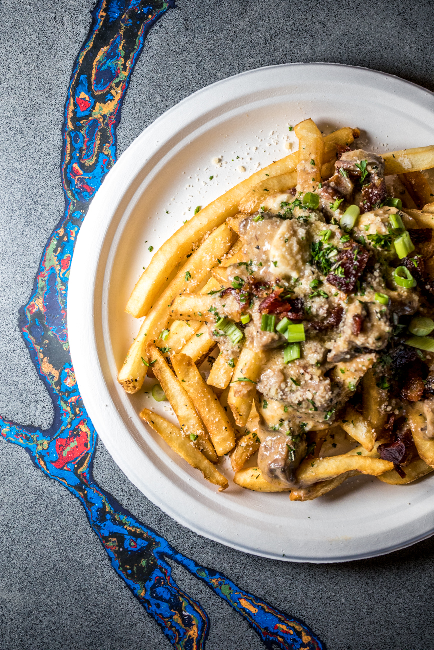 Beef Short Rib Poutine: fresh mozzarella, parmesan, applewood smoked bacon, and green onion / Image: Catherine Viox // Published: 9.12.20