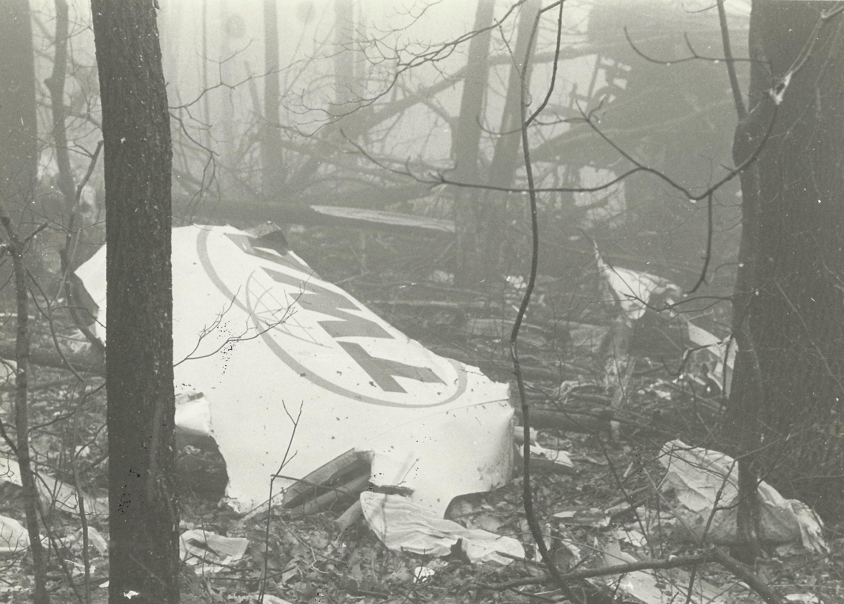 The TWA livery lying near the initial impact site on the top of Mount Weather. (Photo courtesy of Oliver Dube)