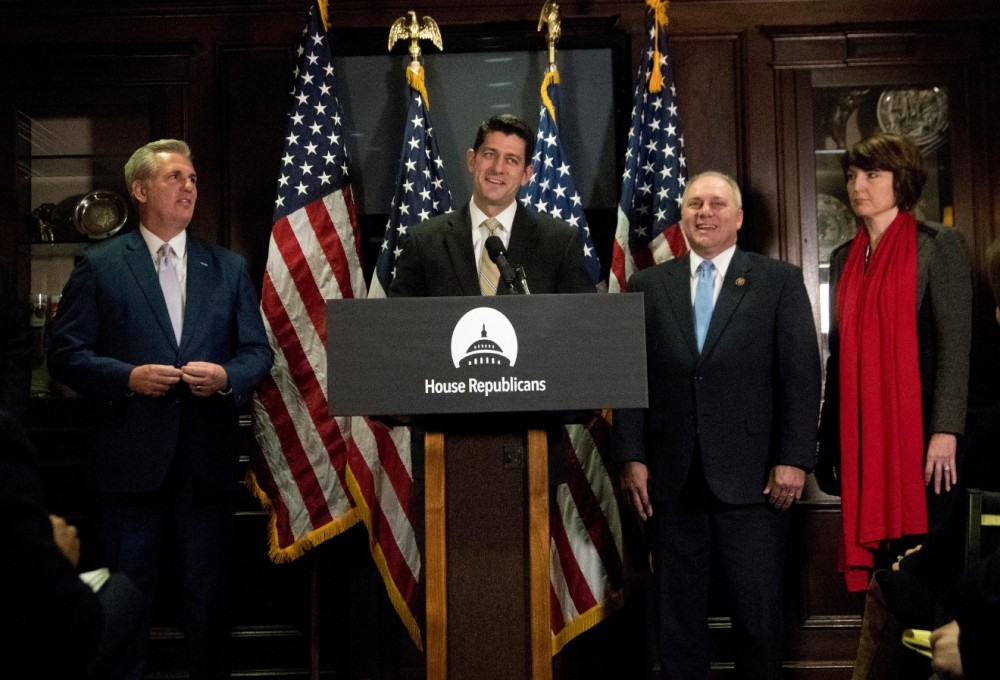 House Speaker Paul Ryan of Wis., second from left, joined by, from left, House Majority Leader Kevin McCarthy of Calif., House Majority Whip Steve Scalise, R-La. and Rep. Cathy McMorris Rodgers, R-Wash., speaks to reporters during a news conference, on Capitol Hill in Washington, Tuesday, Dec. 6, 2016. (AP Photo/Manuel Balce Ceneta)