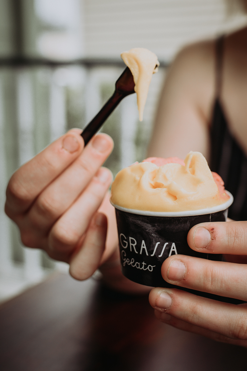 The mango and strawberry sorbet / Image: Brianna Long // Published 5.24.18<br>