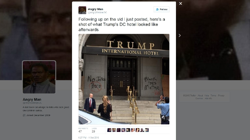 Trump hotel vandalized.JPG