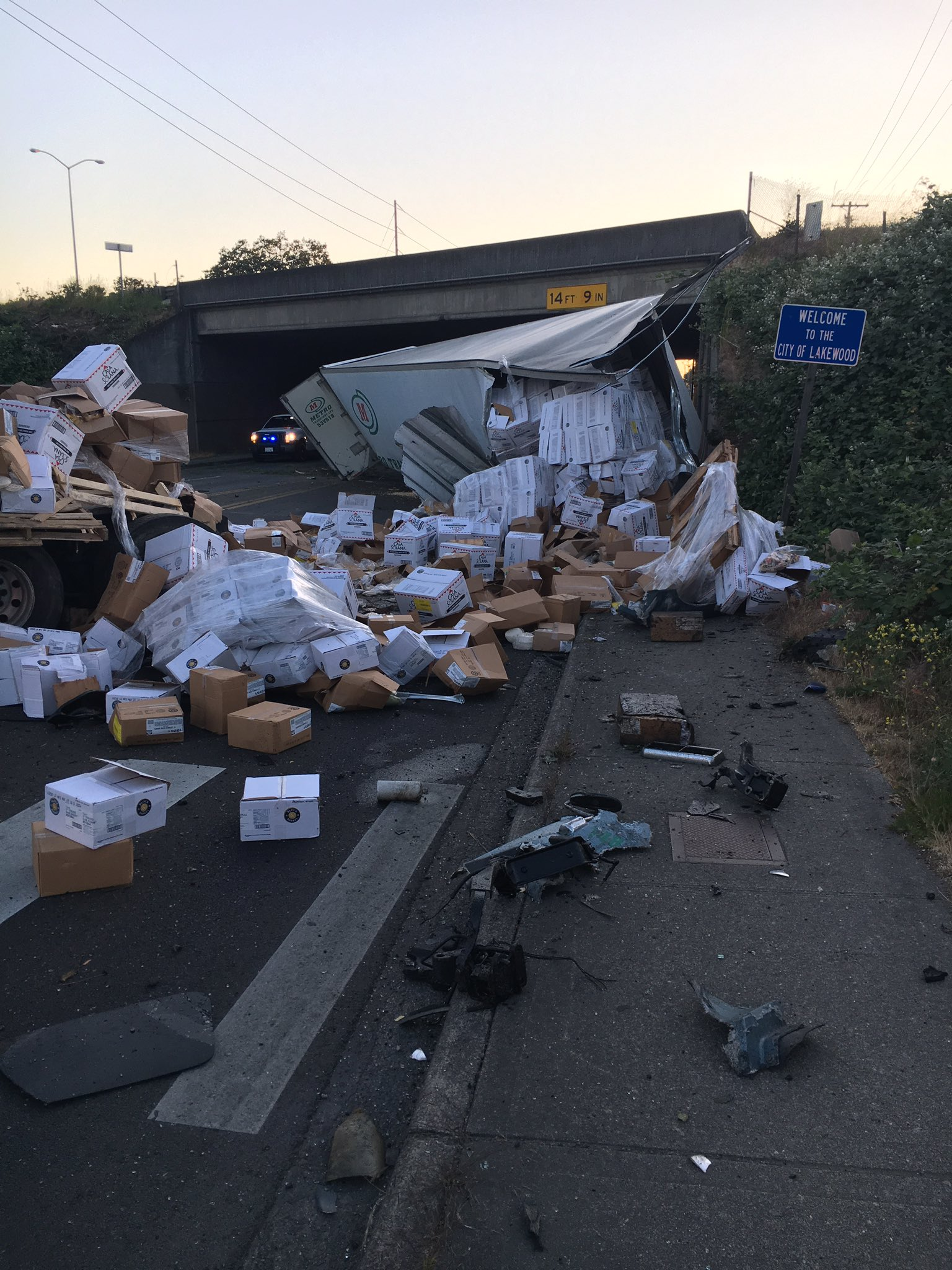 The State Patrol says a semi-truck driver fell asleep at the wheel, causing his rig and trailer to crash off northbound Interstate 5 in Lakewood Thursday night, May 31, 2018. (Photo: State Patrol)