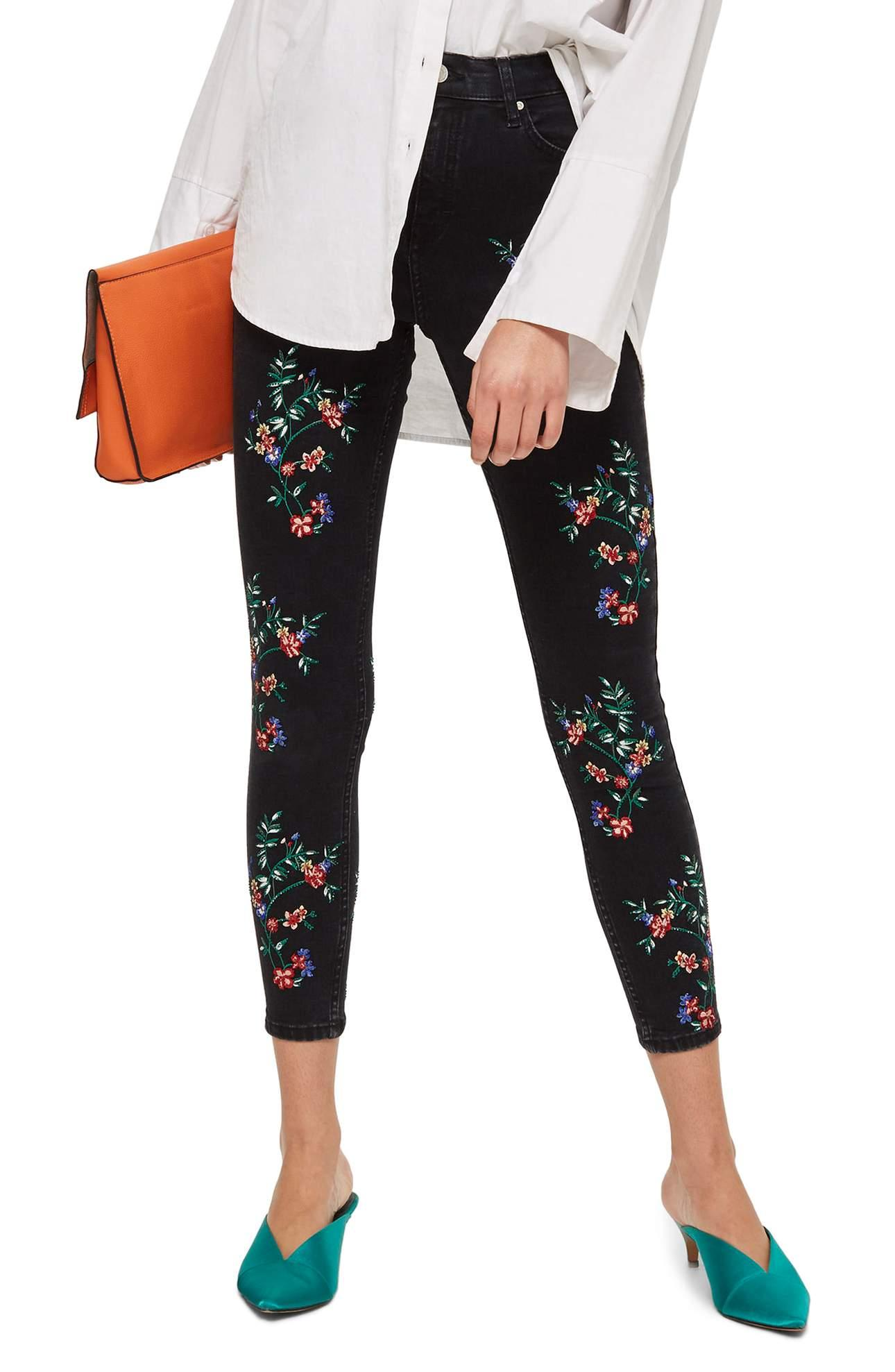 <p>How funky and BOLD are these Jamie Embroidered Ankle Skinny Jeans/TOPSHOP. Sprigs of vivid embroidered blooms spruce up a pair of stretch-woven skinnies, the perfect antidote for boring-denim blues. $110.00 at Nordstrom. (Image: Nordstrom){&amp;nbsp;}</p><p></p>