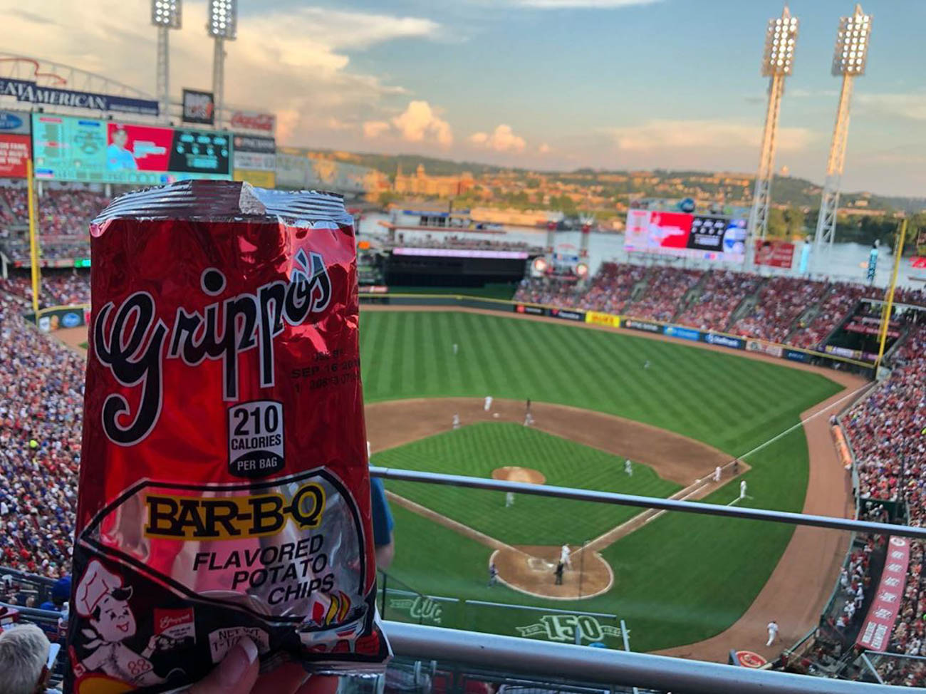 Modeling tasty snacks at the Reds game, too... / Image courtesy of Instagram user @ironmanforgotr  // Published: 9.23.19