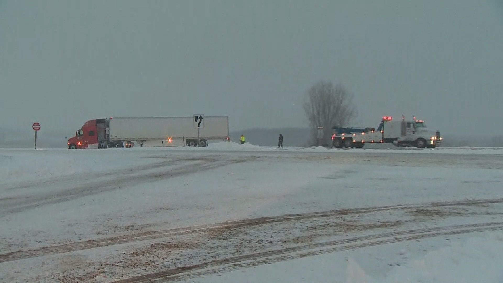 Semi crash in Shawano Co. near Bonduel 3/6/18 (Courtesy: FOX 11)