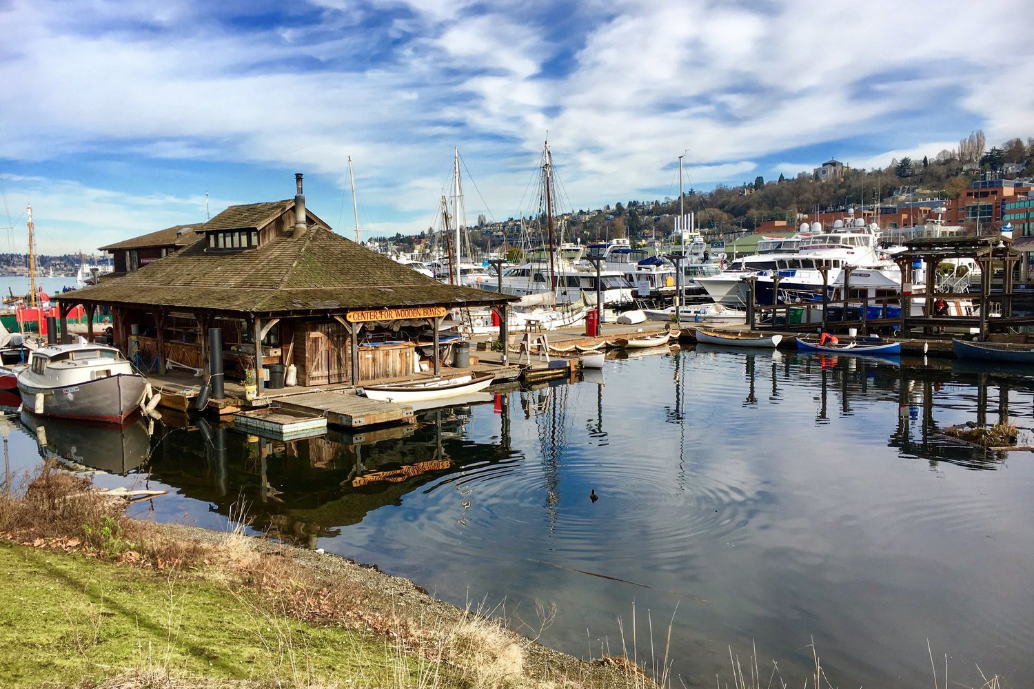 Located at the head of Lake Union, the Center for Wooden Boats sits on the waterfront, offering guests a living museum with boat rentals, sailing lessons and pretty photo ops. Founded in the '70s, the center is dedicated to the preservation of Pacific Northwest maritime history. (Image: Rachael Jones / Seattle Refined)