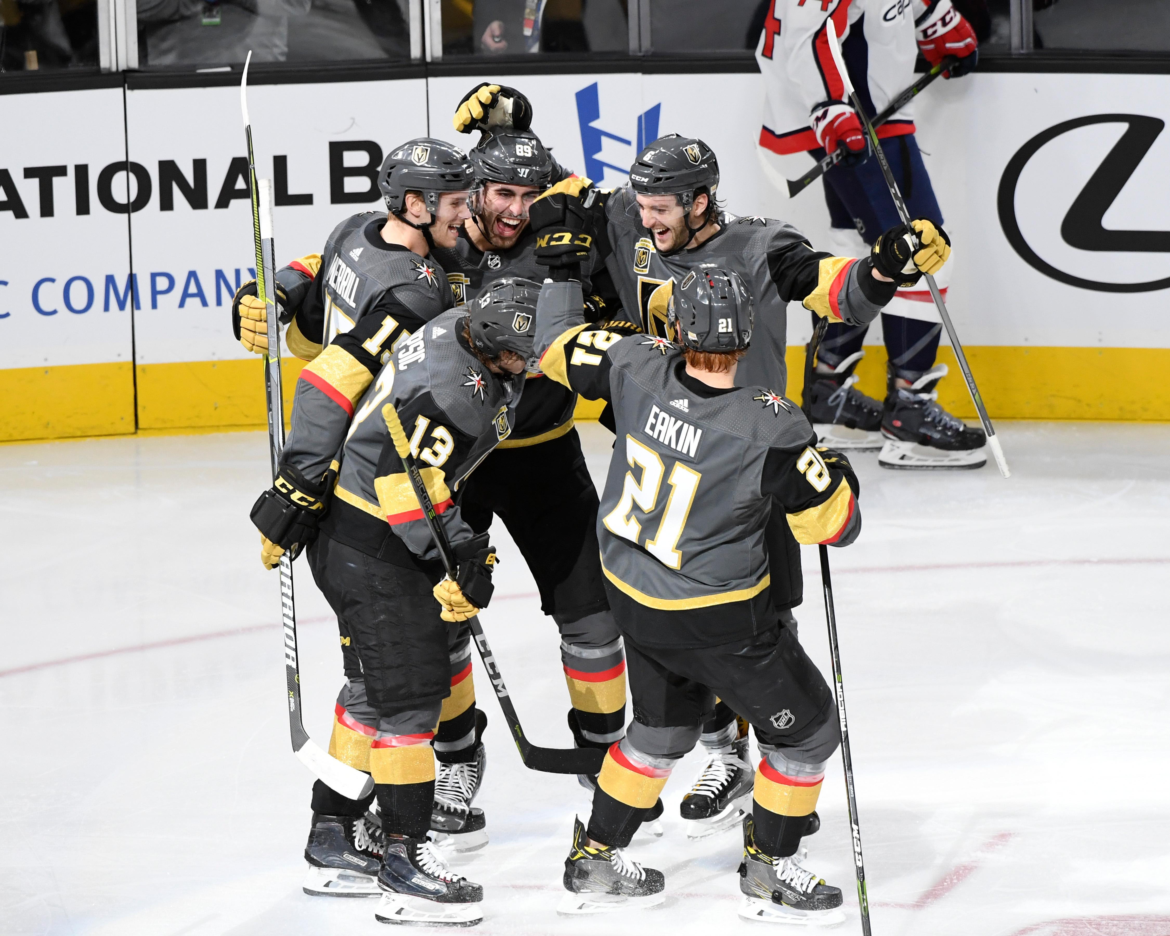 The Vegas Golden Knights celebrate their second goal of the first period against the Washington Capitals during their NHL hockey game Saturday, December 23, 2017, at T-Mobile Arena in Las Vegas.  CREDIT: Sam Morris/Las Vegas News Bureau