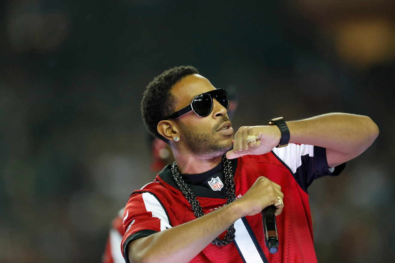 Hip-hop artist Ludacris performs at halftime during an NFL football divisional football game between the Atlanta Falcons and the Seattle Seahawks, Saturday, Jan. 14, 2017, in Atlanta. (Photo credit: AP Photo/John Bazemore.)
