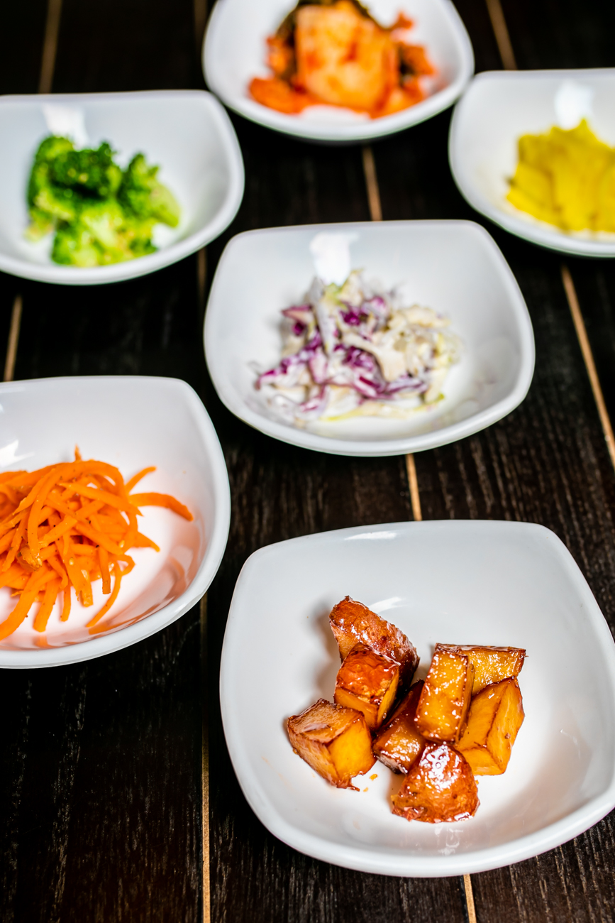 Sides: carrots, kimchi, pan-fried sweet potato, cole slaw, steamed broccoli, and pickled radish / Image: Amy Elisabeth Spasoff // Published: 8.31.18