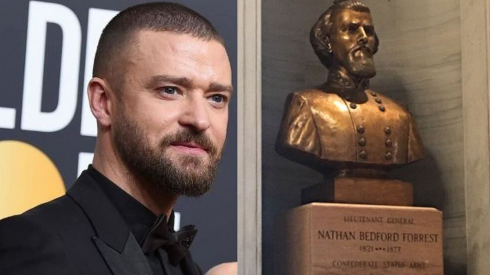 Justin Timberlake calls for Confederate general Nathan Bedford Forrest bust to be removed