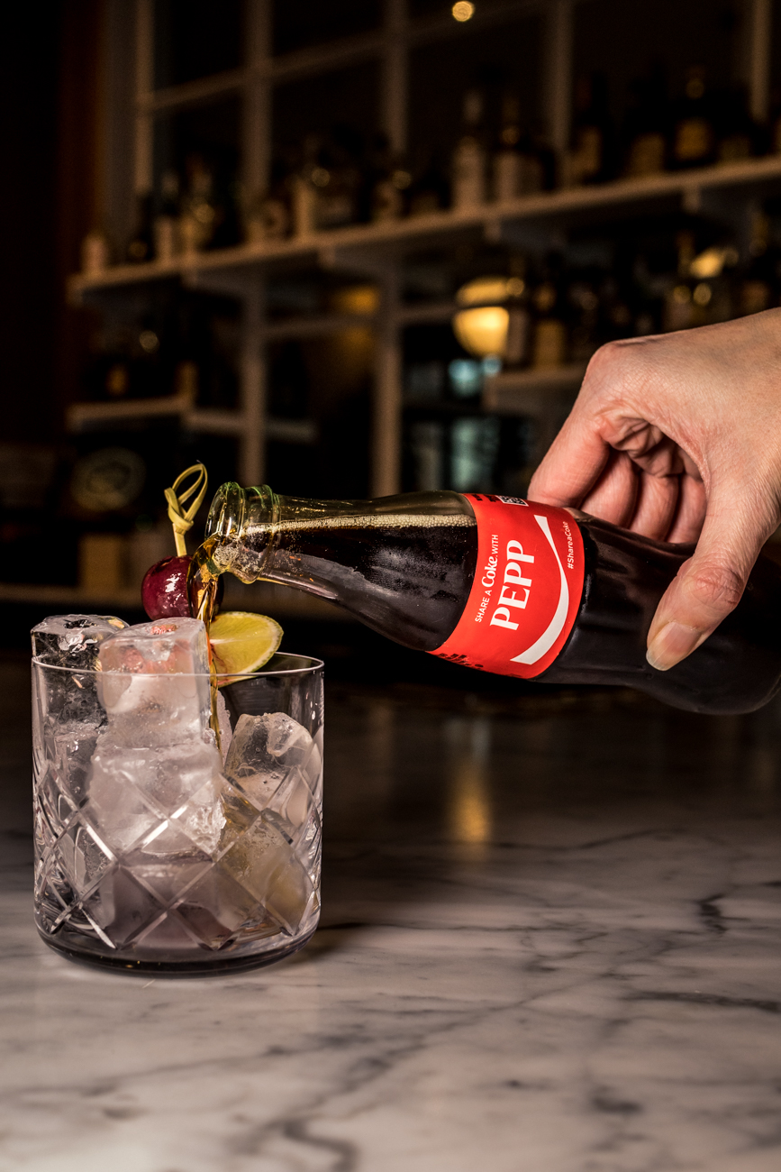 Fratelli Libre: rum, Fernet-Branca, maraschino, Coca-Cola, and cherry bitters that's house-bottled and carbonated / Image: Catherine Viox // Published: 2.11.20