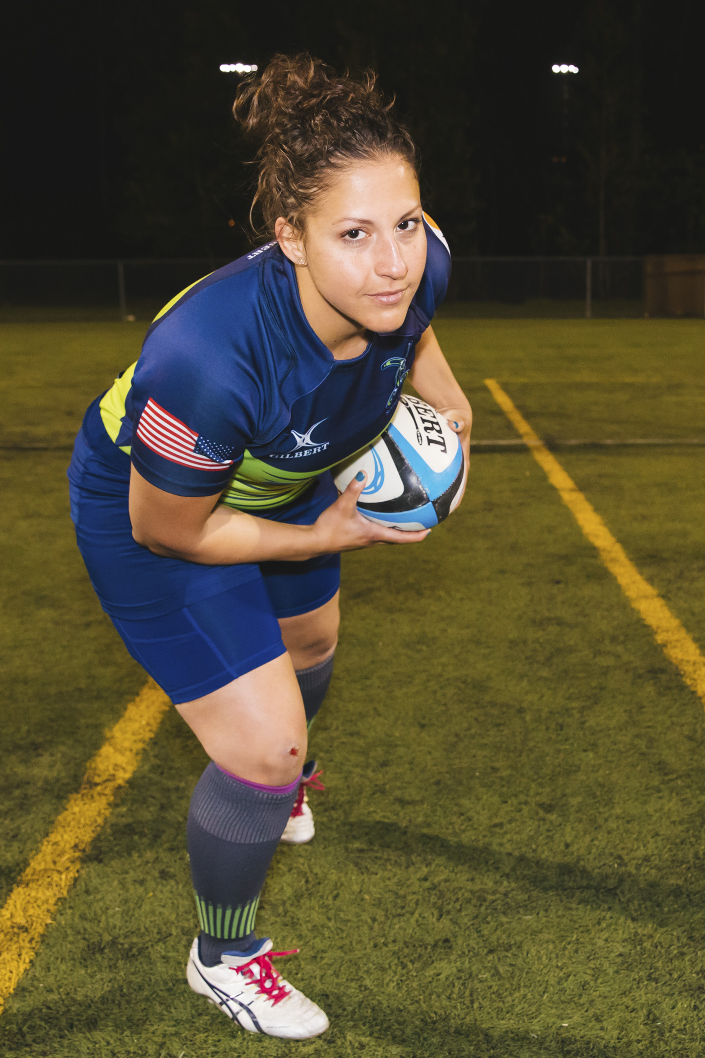 "Everyone say hi, Jade! Jade plays flanker and she's a ""Rose All Day"" kinda gal and her favorite snack is apples and peanut butter (Image: Sunita Martini / Seattle Refined)."