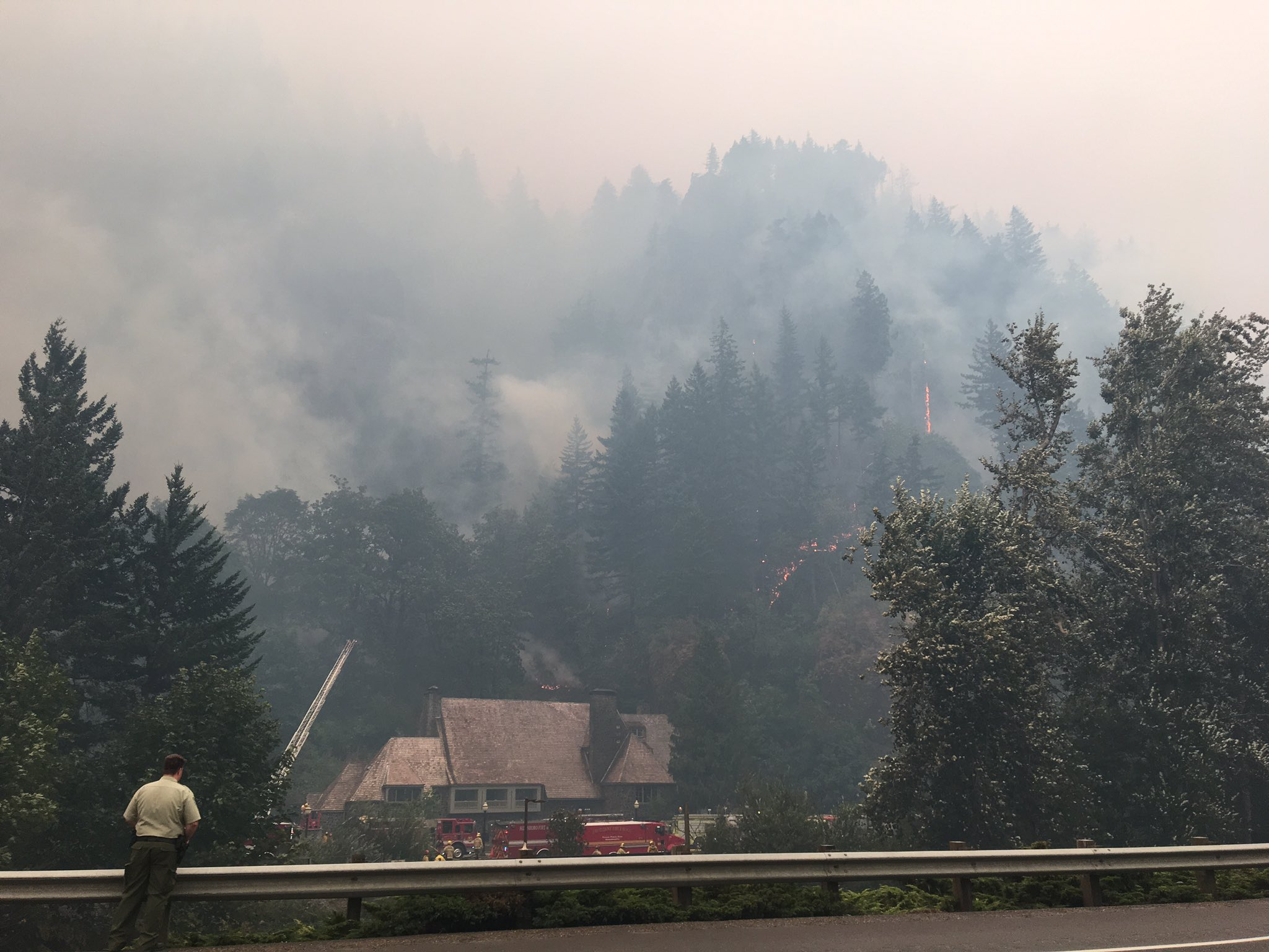Lodge at Multnomah Falls during the Eagle Creek Fire (SBG photo)