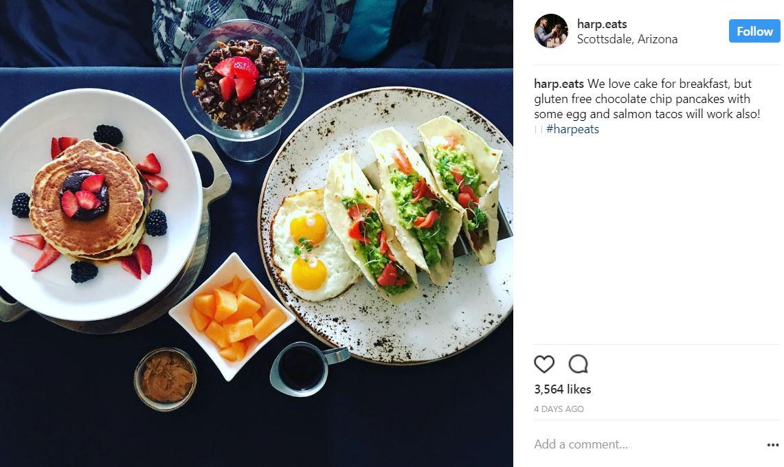No restaurant mentioned, but IG account @ablty.nutrition tagged / We love cake for breakfast, but gluten free chocolate chip pancakes with some egg and salmon tacos will work also! #harpeats (Image: @harp.eats/ instagram.com/harp.eats)
