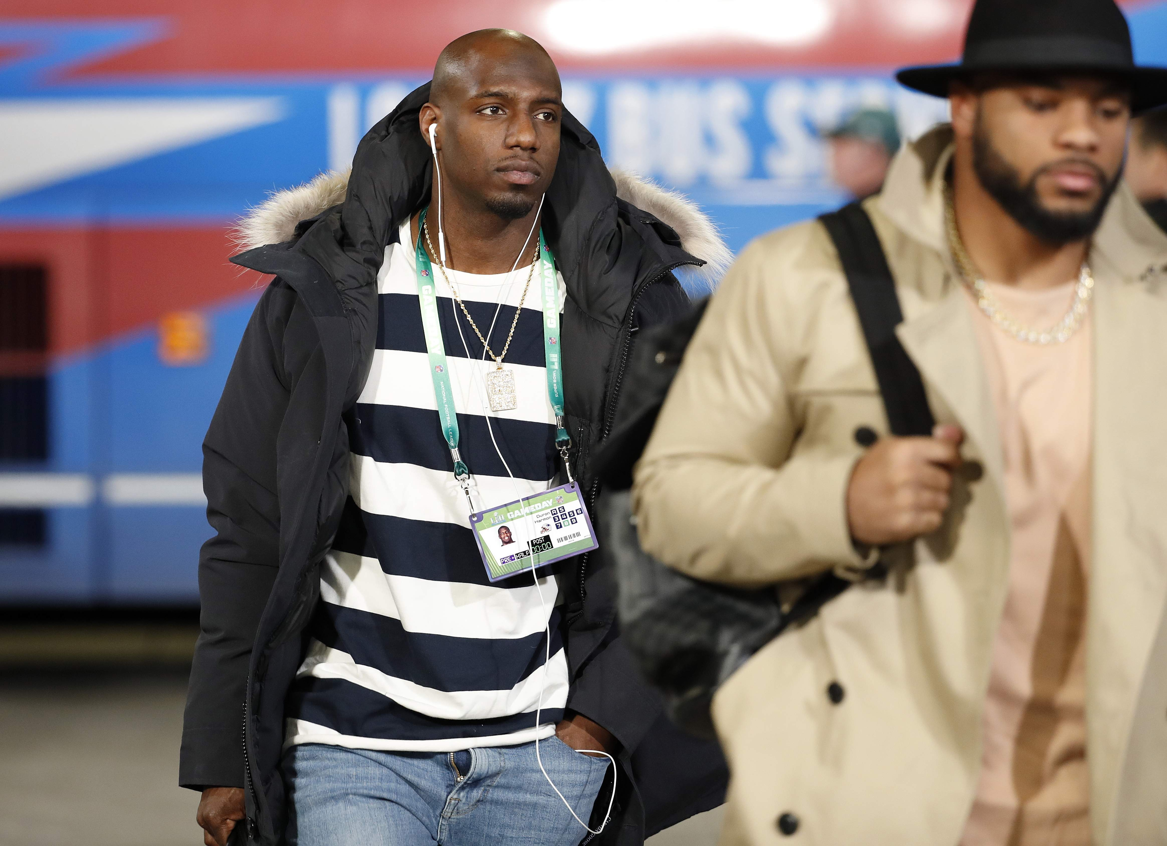 New England Patriots defensive back Duron Harmon arrives before the NFL Super Bowl 52 football game against the Philadelphia Eagles Sunday, Feb. 4, 2018, in Minneapolis. (AP Photo/Matt York)