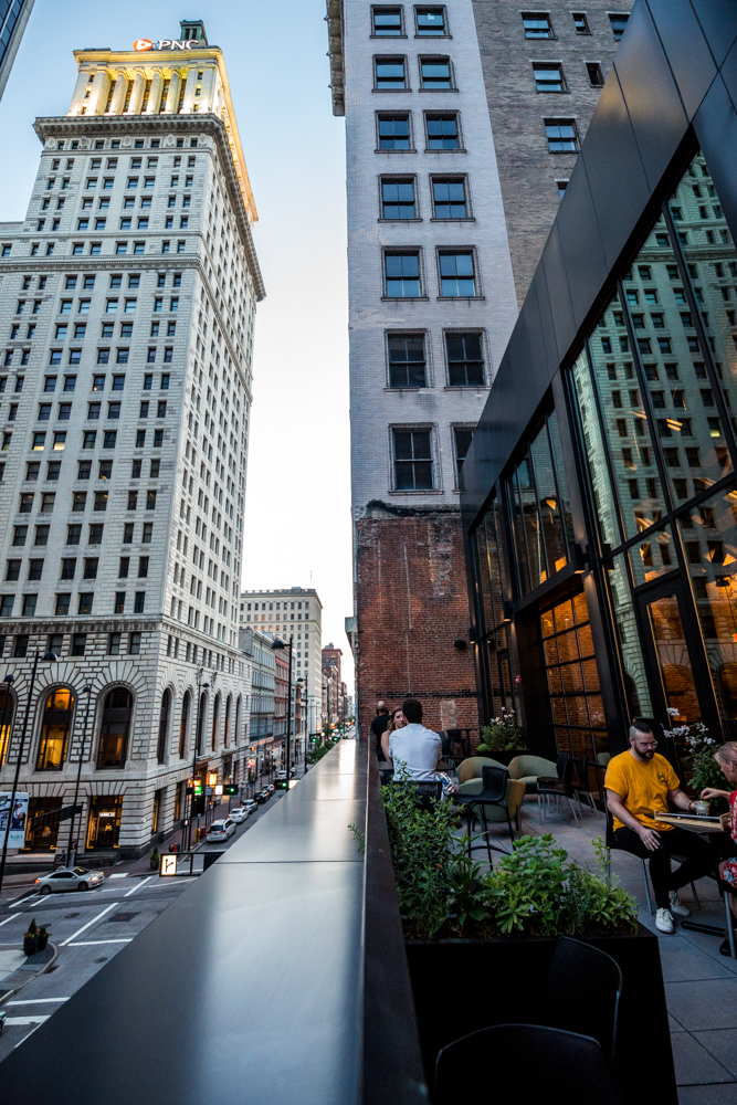 PLACE: Aster / ADDRESS: 8 East 4th Street, Third Floor (45202) / Aster is a one-of-a-kind patio tucked above Sleepy Bee on 4th street that guarantees comfortable outdoor seating, great drinks, and elevated views of the surrounding skyscrapers. It's especially great at night. / Image: Catherine Viox // Published: 7.7.19