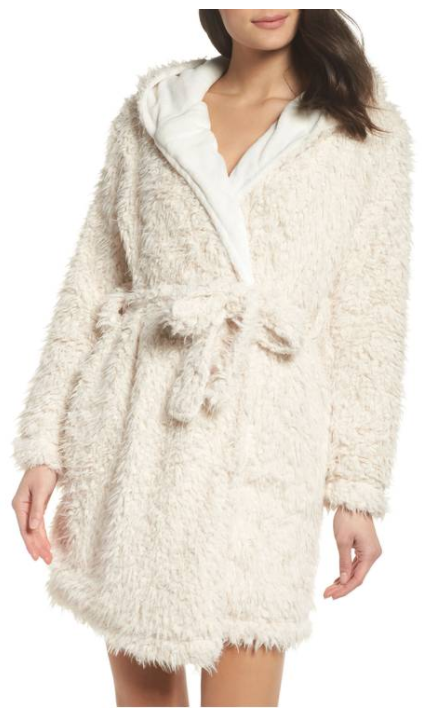 Teddy Hooded Faux Fur Robe from TOPSHOP, $65 (Image courtesy of Nordstrom).<p></p>