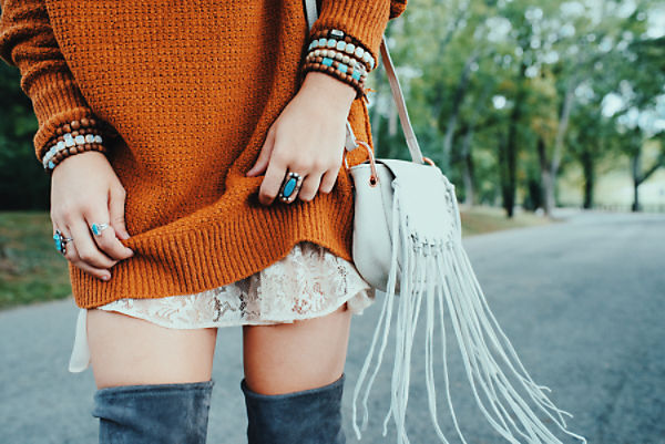 "How do you make the over the knee boot look comfy and cute, this is it folks.  I'm completely obsessed with everything Free People, including these darling boots!  I like to call this ""hippie glam"".  (Image: Free People)"