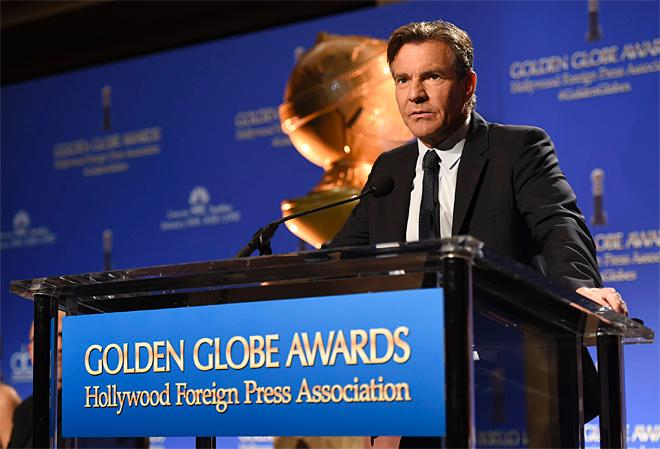Dennis Quaid announces nominations for the 73rd annual Golden Globe Awards at the Beverly Hilton hotel on Thursday, Dec. 10, 2015, in Beverly Hills, Calif. The 73rd annual Golden Globe Awards will be held on Sunday, Jan. 10, 2016. (Photo by Chris Pizzello/Invision/AP)