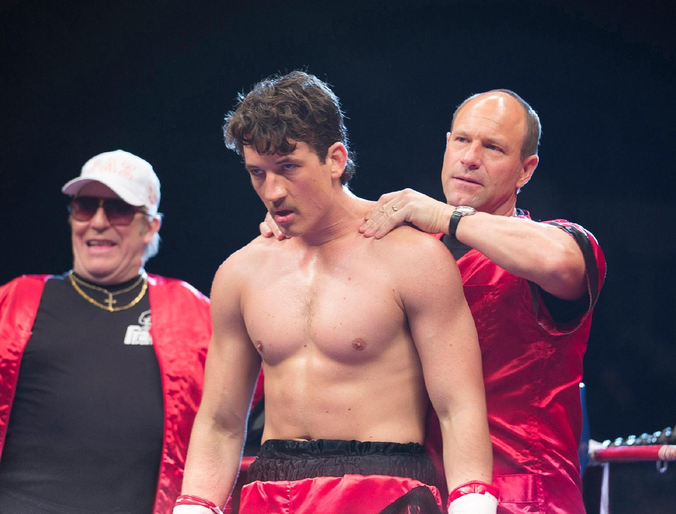 (Left to right) Ciaran Hinds, Miles Teller and Aaron Eckhart in BLEED FOR THIS. (Courtesy of Open Road Films)