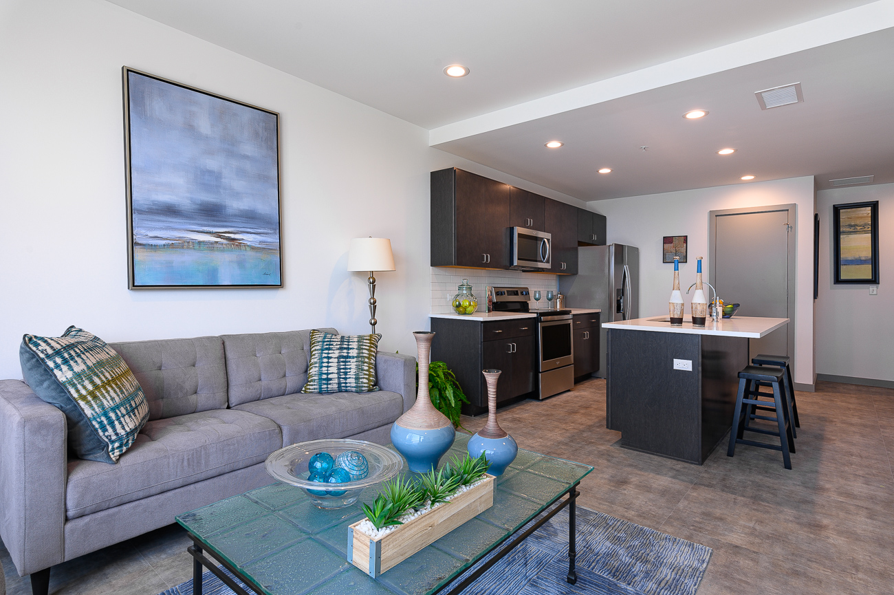 Rates are as follows: Studio apartments start at $1,399 for 613 square feet, one-bedroom apartments start at $1,499 for 689 square feet, one-bedroom apartments with a den start at $1,999 for 929 square feet, and two-bedroom apartments start at $2,499 for 1,152 square feet. / Image: Phil Armstrong // Published: 9.2.19