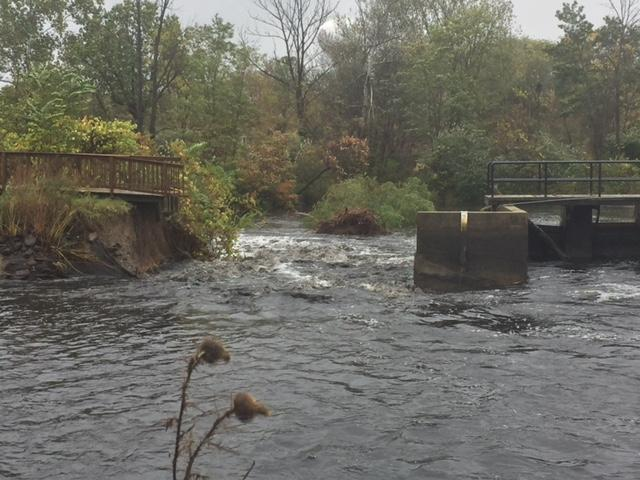 A portion of the dam at Briggs Mill -- which is considered to have significant hazard potential -- has been breached, according to the Village of Paw Paw. (Credit: Matt Loughrin - WWMT)<p></p>