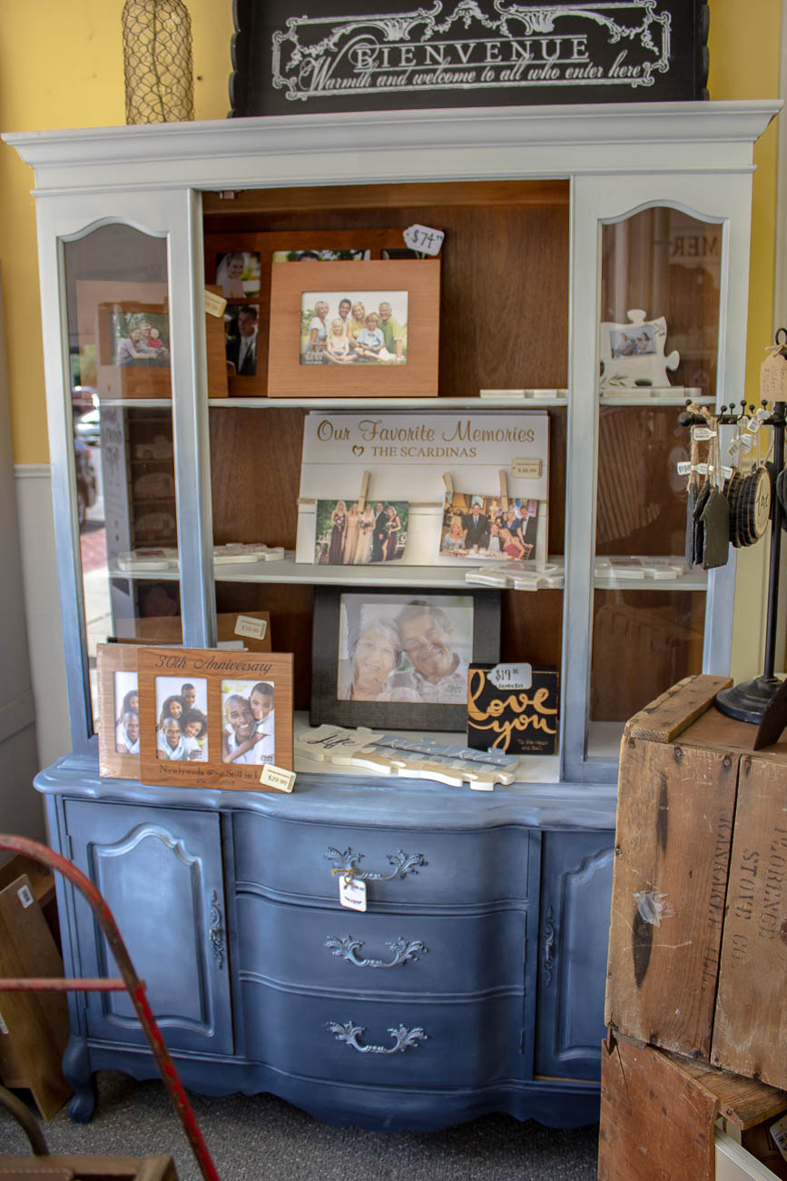 Wendy had been redecorating her own home into an old-fashioned farmhouse style a few years prior to opening the shop in 2014. She originally set up a spot in the Florence Antique Mall—which she continues to do today—to showcase her passion for repainting antique furniture and décor. A dresser was one of the first pieces Wendy fixed-up, so her aunt Jo Ellen suggested the Newport shop's name: Dresser Up. The shop is open Tuesday-Saturday afternoons. / Image: Katie Robinson, Cincinnati Refined // Published: 6.8.19