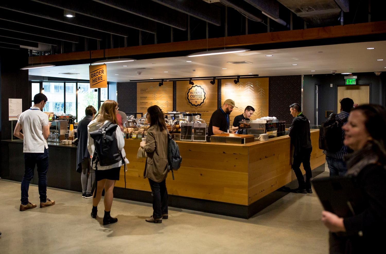 <p>#4. Olympia Coffee Roasting Co. / Doppler Buildnig: In 2011, Olympia Coffee was awarded 2nd, 3rd, 4th and 5th Place in the Northwest Brewers Cup. So yeah, they're good.</p><p>Did you know there are 17 total coffee shops on the Amazon campus in South Lake Union? The tech company graciously allowed on us on their usually secretive campus to check out as many as we could get to in a two hour window (spoiler alert - it was 12). So...here they are! You'll have to use your imagination for the final missing five. We were quite please to see that all the coffee shops are local coffee roasters. (Image: Sy Bean / Seattle Refined)</p>