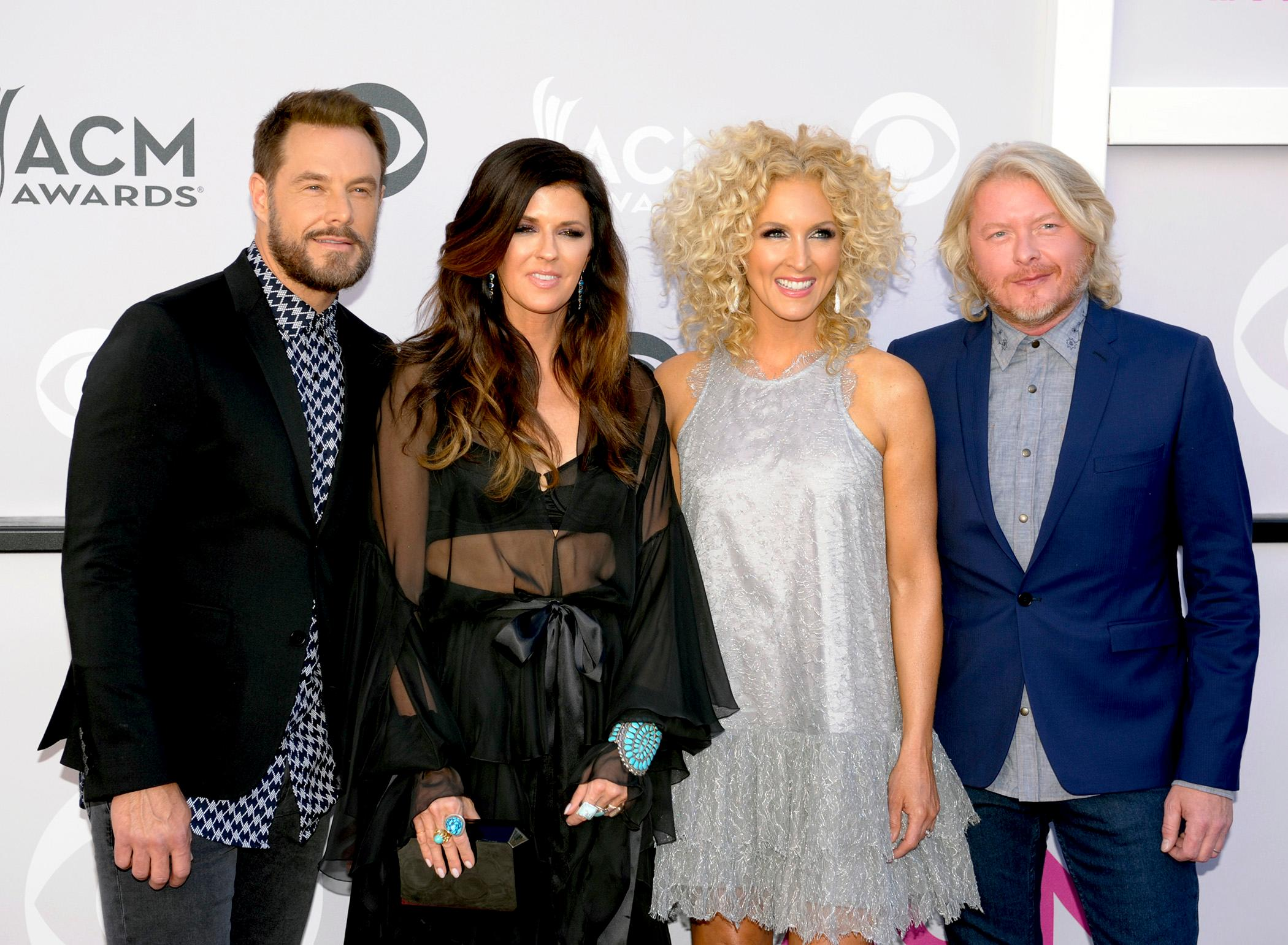 (left to right) Jimi Westbrook, Karen Fairchild, Kimberly Schlapman and Philip Sweet also know as Little Big Town and nominees for Vocal Group of the Year walk the Academy of Country Music Awards red carpet at T-Mobile Arena. Sunday, April 2, 2017. (Glenn Pinkerton/ Las Vegas News Bureau)