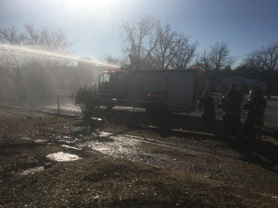 One person was burned in a fire Monday morning that destroyed a house in Breckenridge.{ }(Courtesy: Breckenridge Fire Department)